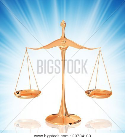 gold scales isolated on background