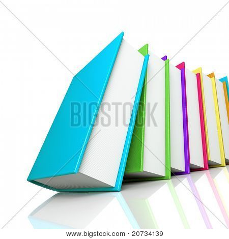 colored books isolated on white background