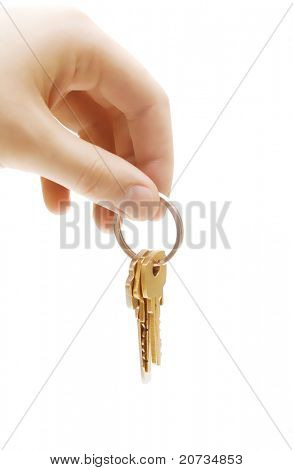 human hand with keys on white