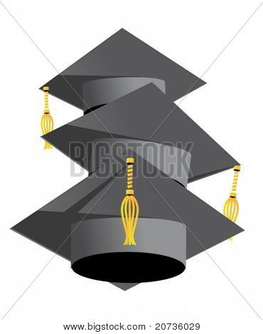 graduation hats on white. vector