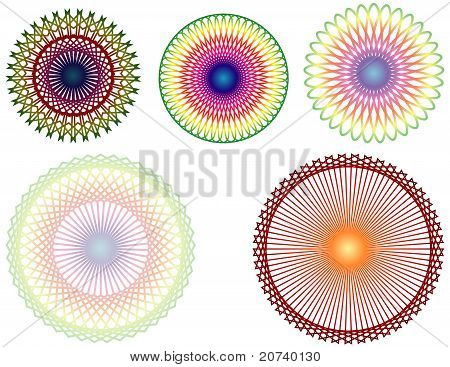 Set of 5 Colorful Spirographs