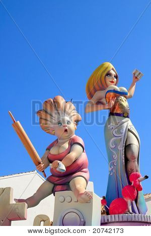 fallas from Valencia paper mache popular fest figures sculpture in Spain
