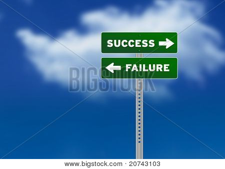 Success And Failure Road Sign