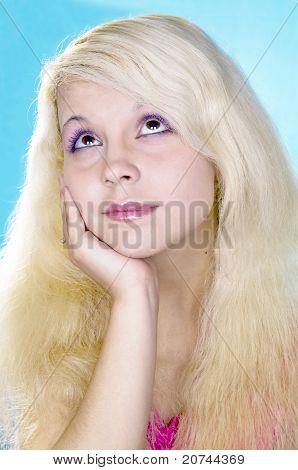 pensive blonde  girl