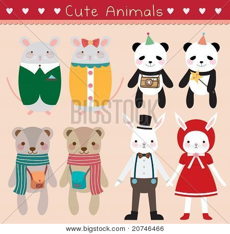 Set of Cute Animals. Vector Illustration.