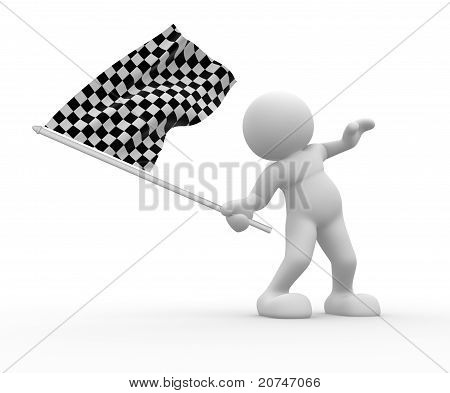 With Flag On White Background