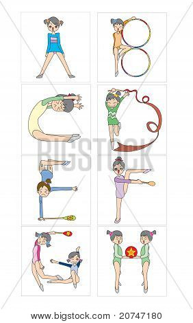 Making alphabets by different of gymnastics posing. A to H.
