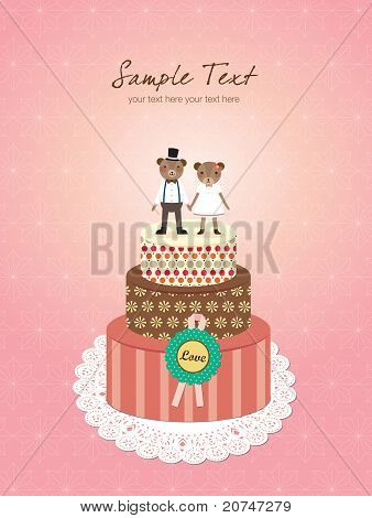 Wedding Invitation - Little Cute Bears Couple Standing on Cake. Vector Illustration.