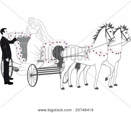 Chariot with newlyweds