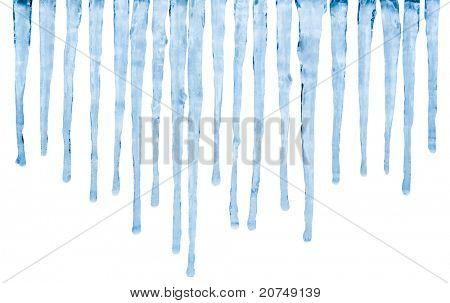 Melting Icicles isolated on white background
