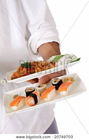 Nepalese Chef Male Hand, Oriental Food Plate