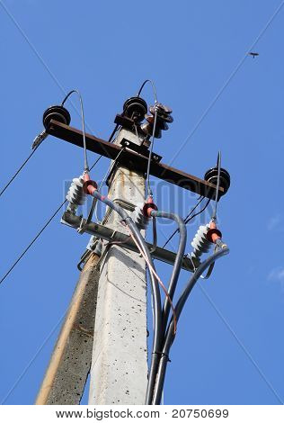 Three Phases Of An Electricity On A Column