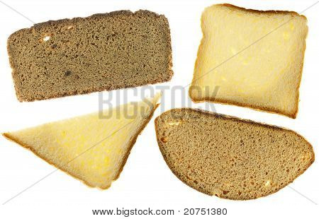 Texture Of  Rye And White Bread