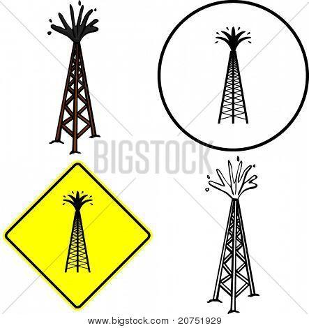 muestra de ilustración de la torre y el símbolo de la perforación petrolífera
