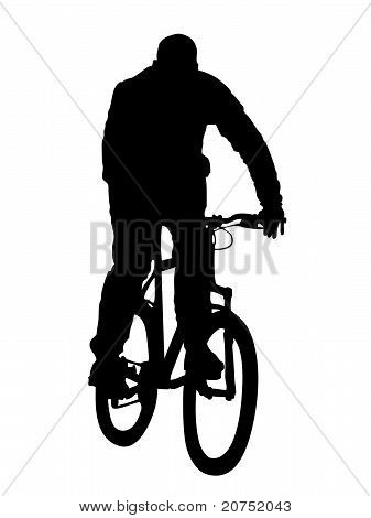 silhouette of  mountain biker