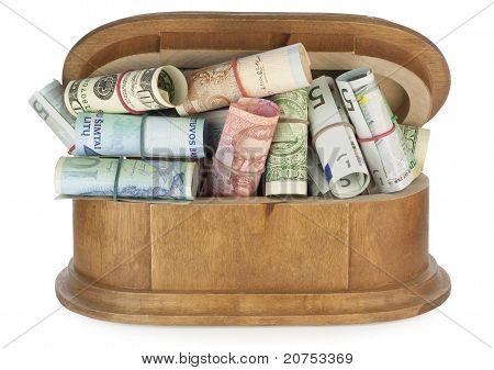 The Wooden Casket Is Filled By Money