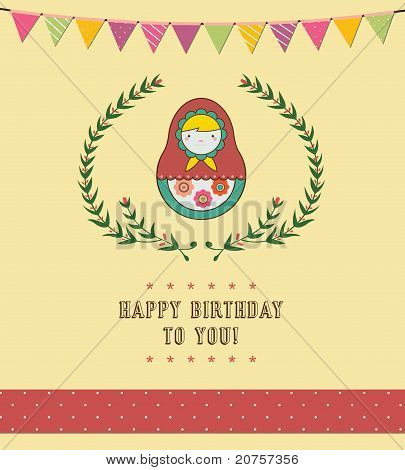 Happy Birthday Card Design for Party, Girl, Fun.