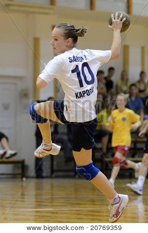 KAPOSVAR, HUNGARY - MAY 22: Bernadett Sardi (10) in action at Hungarian Handball National Championship III. match (Kaposvar vs. Balatonboglar) on May 22, 2011 in Kaposvar, Hungary.