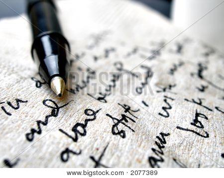 Handwriting On Brown Napkin