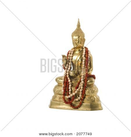 Golden Buddha Statue With Neclace