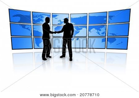 business men in front of a television wall with a blue world map