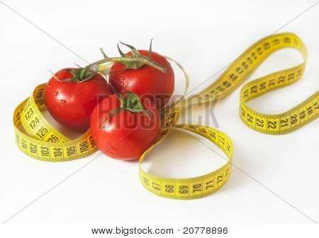 tomato with tape measure