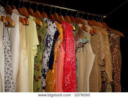 Pretty Shirts Hanging In Wardrobe Closet