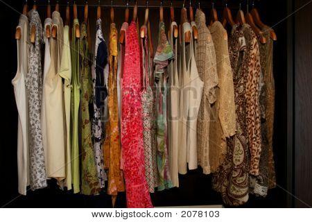 Feminine Shirts Hanging In Wardrobe