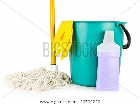 Bucket, mop and cleaning bottle isolated on white background