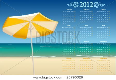Vector European calendar 2012 with tropic beach, starting from Mondays