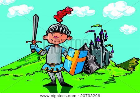 Cartoon boy knight in front of a castle