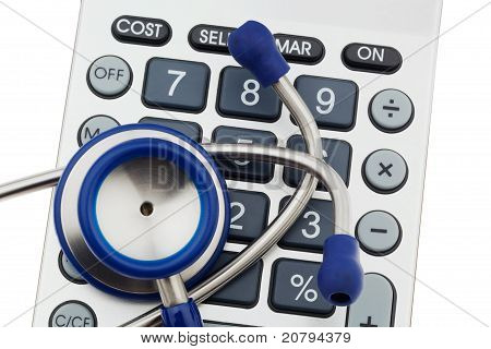Calculators and stethoscope