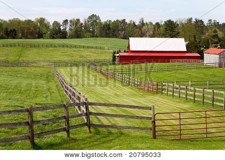 Fenced Pastures With Barn