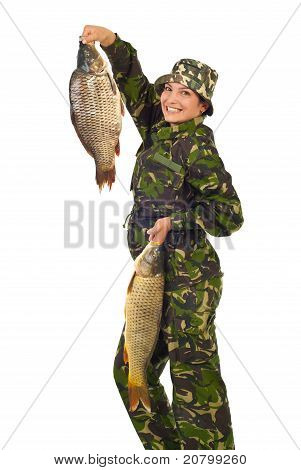 Happy Fisher Woman Holding Large Fishes