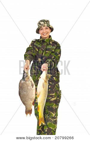 Fisher Woman Showing Big Carps
