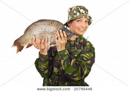 Angler Woman Showing Big Carp