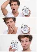 foto of wind up clock  - Collage of a sleeping man waking up - JPG