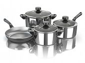 Pots and pans. Set of cooking stainless steel kitchen utensils and cookware. 3d illustration poster