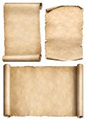 old scroll, parchment, papyrus realistic 3d illustration set poster