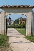 External Entrance And Footpath Of Historical Green Park Farnesiano In Sala Baganza Parma, Italy poster