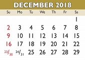 December Month Calendar 2018 English Usa poster