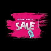 Special Offer Sale Banner In Frame. Pink Grunge Brush Stroke On A Black Background With Blue Tag Wit poster