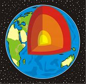 stock photo of outer core  - cross inside the earth  - JPG