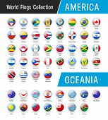 Set Of American And Oceanian Flags - Vector Round Icons poster