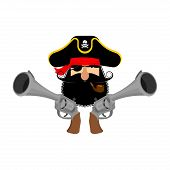 Pirate Logo. Head Of Buccaneer And Gun. Pirate Symbol. Vector Illustration poster