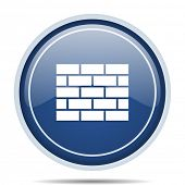 Firewall blue round web icon. Circle isolated internet button for webdesign and smartphone applicati poster