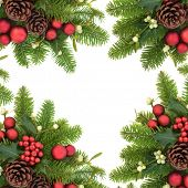 Christmas decorative background border with holly ivy, mistletoe, fir, red bauble decorations and pi poster