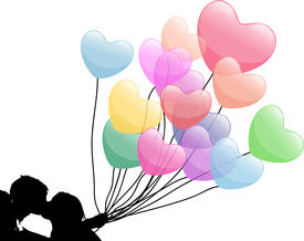 picture of heart shape  - romantic couple kissing while holding the love balloons - JPG