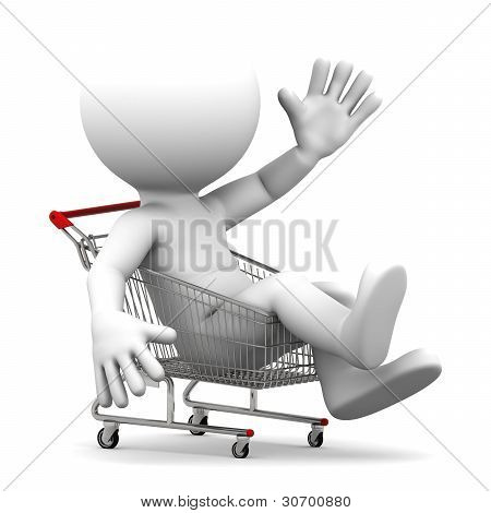 Man Inside Shopping Cart