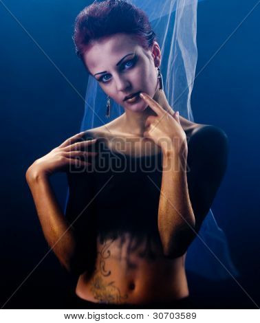 girl with dark body-art